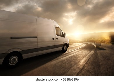 Delivery van during sunset