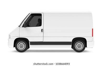 Delivery Van Isolated (side view). 3D rendering