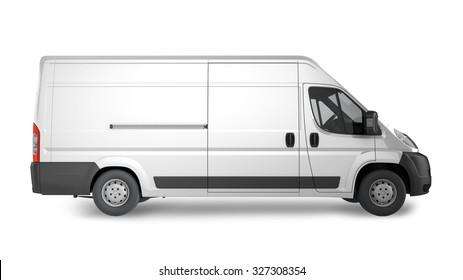 Delivery Van Mockup, layout for presentation. 3D render illustration.