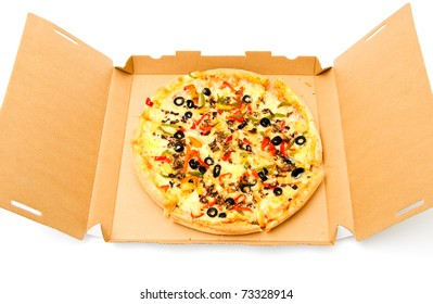 Delivery vegetarian pizza over white background