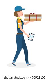Delivery woman with pizza boxes. Fast transportation. Isolated cartoon character on white background. Postwoman, courier with fresh pizza and clipboard.