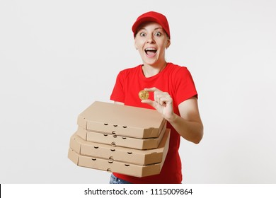 Delivery woman in red cap, t-shirt giving food order italian pizza in cardboard flatbox boxes isolated on white background. Female pizzaman working as courier holding bitcoin, coin of golden color