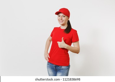 Delivery woman in red uniform isolated on white background. Professional caucasian female in cap, t-shirt, jeans working as courier or dealer, showing thumbs up gesture. Copy space for advertisement