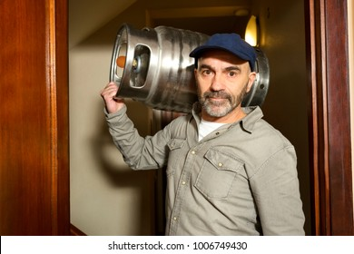 delivery worker with gas butane bottles