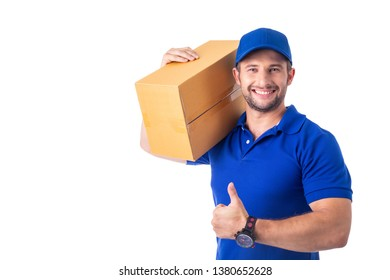 Delivery worker holding carton for ship to Customer
