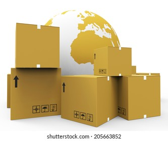 Delivery World Representing Worldly Globalisation And Courier