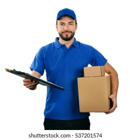 deliveryman with boxes and clipboard isolated on white background