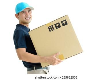 Deliveryman carrying a cardboard box
