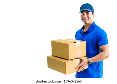 Deliveryman holding cardboard box isolated on white background