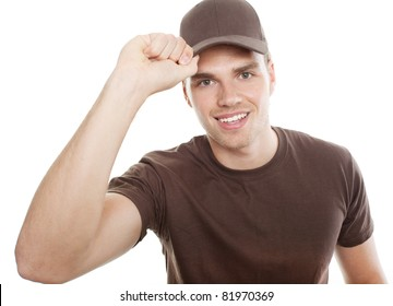 deliveryman tipping at his cap