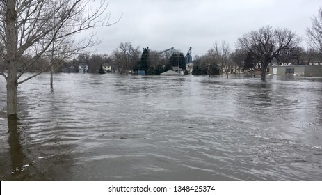 DELL RAPIDS, SOUTH DAKOTA - March 24, 2019: The Big Sioux River reached flood levels in Dell Rapids, South Dakota.