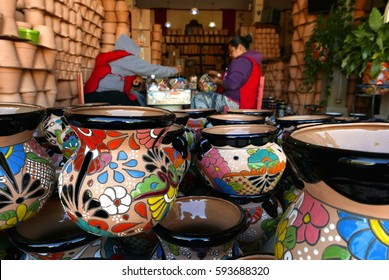 Delores Hidalgo, Mexico-January 10, 2017: Women painting pottery