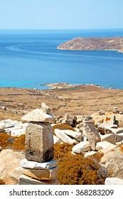 in delos       greece the historycal acropolis and         old ruin site