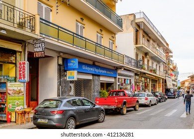 DELPHI, GREECE -APR 22, 2016: Hotels and restaurants at the small town near the Delphi Archaeological Site. This town is the best way to spend night before visiting Archaeological Park.