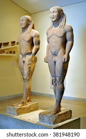 DELPHI, GREECE - APRIL 17, 2009: Statues of Cleobis and Biton, Kouroi of Delphi in the archaeological museum of Delphi