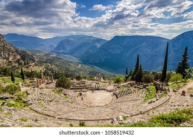 Delphi, Phocis / Greece. Ancient Theater of Delphi. The theater of Delphi, with a total capacity of 5,000 spectators, is located in the sanctuary of Apollo.