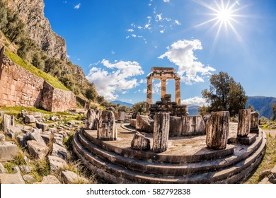 Delphi with ruins of the Temple in Greece
