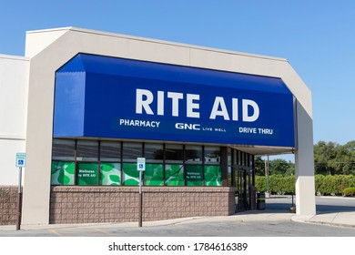 Delphos - Circa July 2020: Rite Aid Drug Store and Pharmacy. Rite Aid is a drugstore chain selling consumer goods, over the counter drugs and prescription medicine.