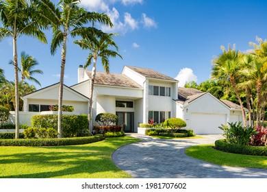 Delray Beach, FL, USA - May 28 2021: Single family home in Tropic Isle Neighborhood Delray Beach, FL USA