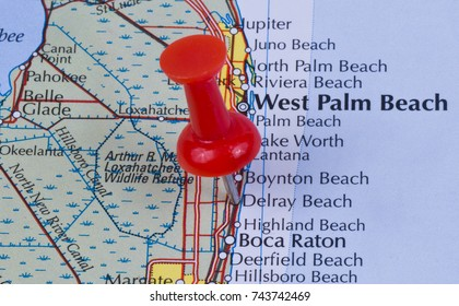 Delray Beach, Florida, Palm Beach County in the United States of America marked on map with red pushpin. West Palm Beach and Boca can also be seen on map.