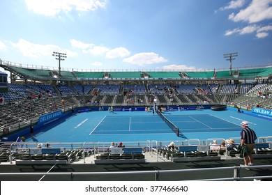 DELRAY BEACH, FLORIDA, USA - February 13, 2016: Delray Beach Tennis Center Stadium, site of the annual Delray Beach Open.