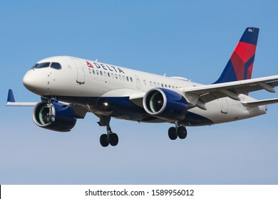 Delta Air Lines Airbus A220-100 aircraft with registration  N121DU landing at JFK International Airport in New York City. Delta Airlines is the largest carrier in the world. November 14, 2019- NY, USA