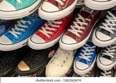 Delta, BC / Canada - December 17th 2018 : Many pairs of shoes on display at a mall