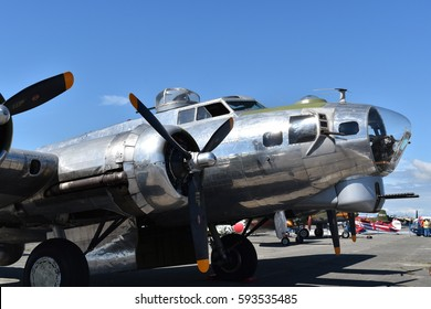 DELTA, BC, CANADA  JULY 23, 2017. A Second World War bomber, the Boeing B-17G Flying Fortress, was one of the featured performers at the Boundary Bay Airshow.
