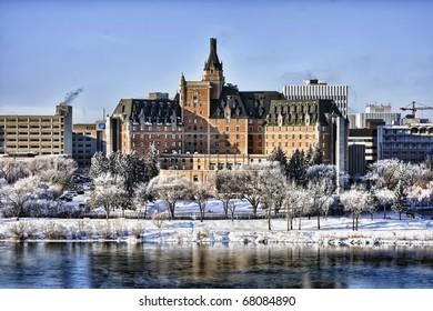 The Delta Bessborough Hotel, a well know Saskatoon landmark in central Canada.  HDR enhanced.