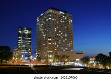 The Delta Hotel by Marriott and the Hilton Quebec Hotel with blue night sky located in Quebec City - Quebec City, Quebec. Canada - June 12, 2019