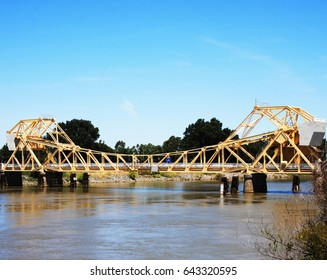 Delta Isleton drawbridge span crosses the Sacramento River near the town of Isleton in Northern California.