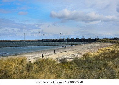 Delta Project in the Netherlands. View of the water dam from the beach.