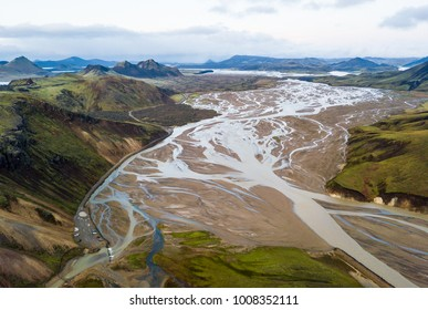 Delta of river in Landmannalaugar area plays with colours in autumn time