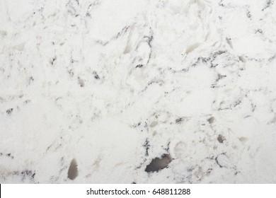 Delta White quartz macro texture, kitchen worktop close-up