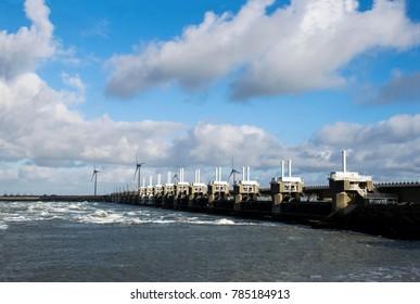 Delta work, High water protection. The Netherlands. Dutch engeneering.  Oosterscheldekering. Storm surge barrier. Famous engineering project.