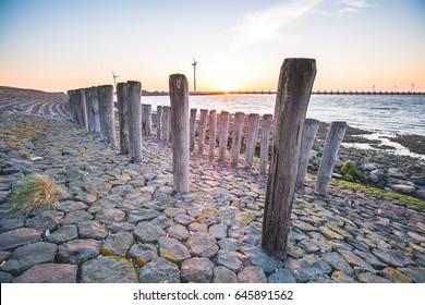 Delta works, Oosterschelde storm surge barrier, Zeeland, The Netherlands.
