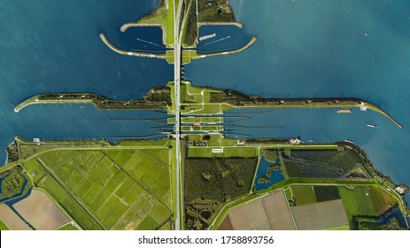 Delta works, Volkeraksluizen - Volkerak locks, looking down aerial view from above - Willemstad, Netherlands