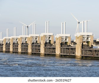 the deltaworks in holland at the Oosterschelde river to protect holland form high sea level, this is near the dutch museum neeltje jans