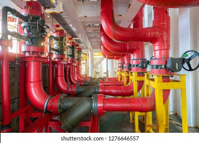 Deluge valve system of firefighting system for emergency of fire case in offshore oil and gas central processing platform, safety and security system.
