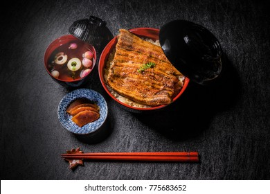 Deluxe grilled eel and rice in lacquered box japanese food