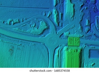 DEM - digital elevation model. GIS product made after proccesing aerial pictures taken from a drone by mapping. It shows construction site of a roundabout and traffic cord