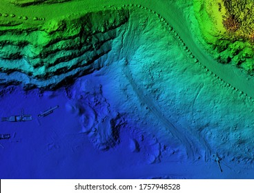DEM - digital elevation model. GIS product made after proccesing aerial pictures taken from a drone by mapping. It shows excavation site with steep rock walls