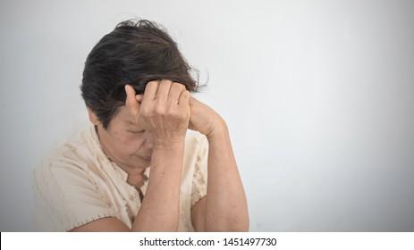 Dementia, Alzheimer's disease elderly senior patient (old aged women) with depression, mental stress illness, memory loss, schizophrenia symptom