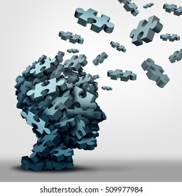 Dementia puzzle concept brain health problem symbol as a neurology and psychology icon as a a group of 3D illustration jigsaw pieces shaped as a human head as a mental health or memory loss disorder.