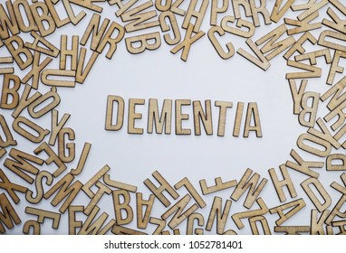 Dementia, word spelled out against confusion of jumbled letters
