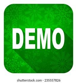demo flat icon, christmas button