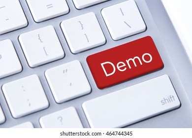 Demo word in red keyboard buttons