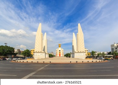 Democracy monument with blue sky in Bangkok, Thailand