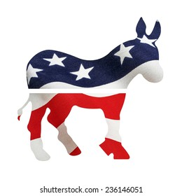 Democrat donkey with American flag superimposed on it. Isolated on a white background with a clipping path.