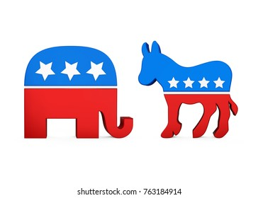 Democrat Donkey and Republican Elephant. 3D rendering